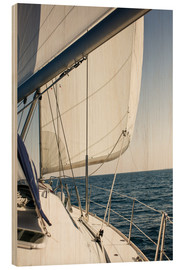 Wood print  White sails in the open sea