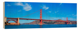 Wood print  panoramic view of Golden Gate Bridge