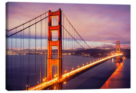 Canvas  The Golden Gate Bridge by night, San Francisco