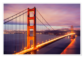 Poster  The Golden Gate Bridge by night, San Francisco