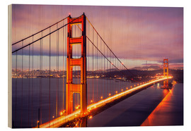 Wood print  The Golden Gate Bridge at dusk, San Francisco