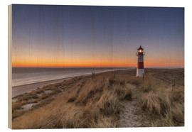 Wood print  Sylt island - Lighthouse Sylt Ost (Sunrise) - Achim Thomae