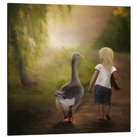 Aluminium print  Little girl with goose - Heike Langenkamp