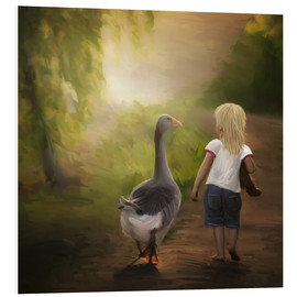 Foam board print  Little girl with goose - Heike Langenkamp