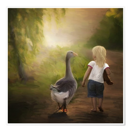 Premium poster Little girl with goose