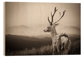 Wood print  Stag in the mountains