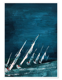 Premium poster Sailboats, abstract