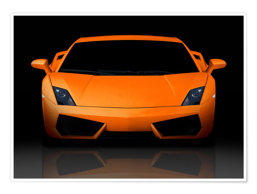 Premium poster Bright orange supercar