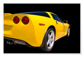 Premium poster  Yellow Corvette - sports car