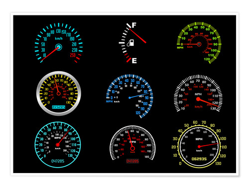 Premium poster Speedometers for mph Fans