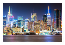 Premium poster Manhattan Skyline in Neon Colors