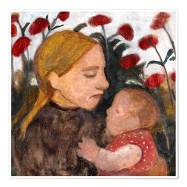 Premium poster Young woman with child