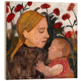 Wood print  Young woman with child - Paula Modersohn-Becker