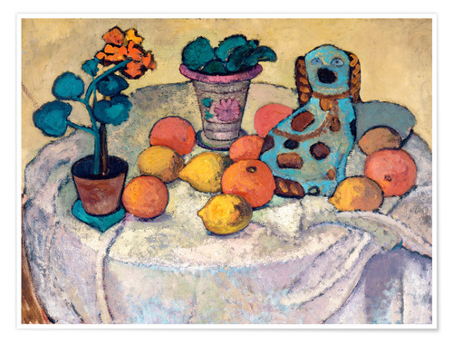 Premium poster Still Life with Oranges and Stoneware Dog