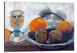 Aluminium print  Still life with frosted glass cups, apples and pine twig - Paula Modersohn-Becker