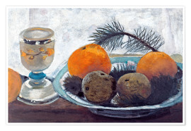 Premium poster Still life with frosted glass cups, apples and pine twig