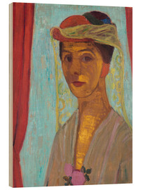 Wood print  Paula Modersohn-Becker with hat and veil - Paula Modersohn-Becker