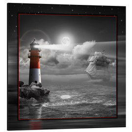 Aluminium print  Lighthouse and Sailboat in the Moonlight - Monika Jüngling