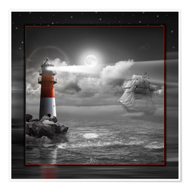 Premium poster  Lighthouse and Sailboat in the Moonlight - Monika Jüngling