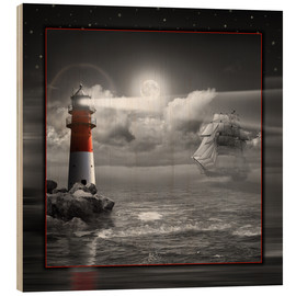 Wood print  Lighthouse and Sailboat in the Moonlight - Monika Jüngling