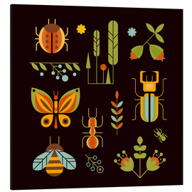 Aluminium print  Retro Insects