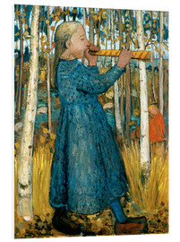 Foam board print  Flute blowing girl in birch forest - Paula Modersohn-Becker