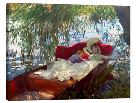 John Singer Sargent - Lady and boy, in a boat under pastures