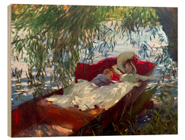 Wood print  Lady and boy, in a boat under pastures - John Singer Sargent