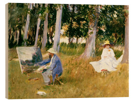 Wood print  painting Claude Monet, near the forest - John Singer Sargent