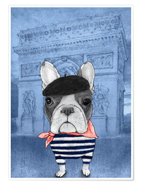 Premium poster Frenchie With Arc De Triomphe