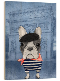 Wood print  Frenchie With Arc De Triomphe - Barruf