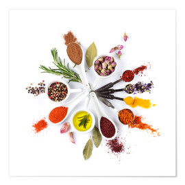 Poster Spices and herbs clock