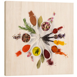 Wood print  Spice and herb'clock