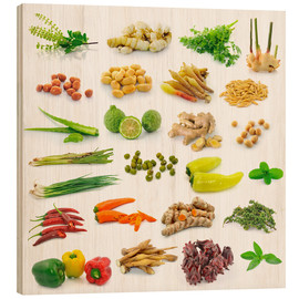 Wood print  Vegetable and herb collection