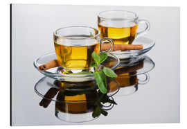 Alu-Dibond  Tea cup with fresh mint leaves