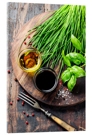 Acrylic print  Herbs and spices on wooden board