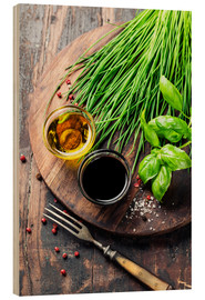 Wood  Herbs and spices on wooden board