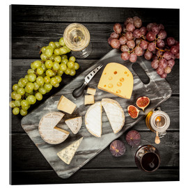 Acrylic print  Wine and cheese still life