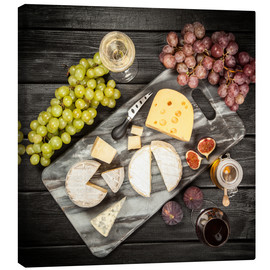 Canvas print  Wine and cheese still life