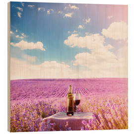 Wood print  Red wine bottle and wine glass in lavender field