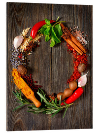 Acrylic glass  wreath of spices and herbs
