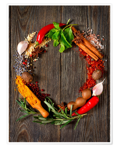 Premium poster Wreath of spices and herbs