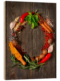 Wood print  Wreath of spices and herbs