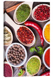 Canvas print  Spice powder in wooden spoon