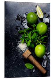 Acrylic print  Mojitos (ice cubes, mint, sugar and lime)