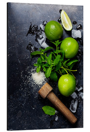 Alu-Dibond  Mojitos (ice cubes, mint, sugar and lime)