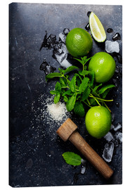 Canvas print  Mojitos (ice cubes, mint, sugar and lime)