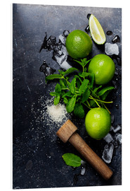 Foam board print  Mojitos (ice cubes, mint, sugar and lime)