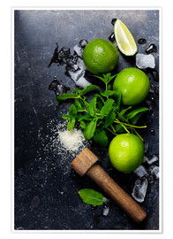Premium poster  Mojitos (ice cubes, mint, sugar and lime)