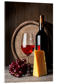 Acrylic glass  Red wine with cheese and grapes